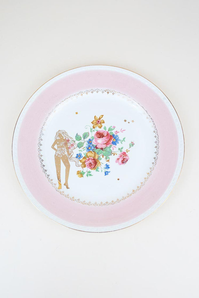 stardust girl gold decal fired onto vintage floral plate wings hawaii