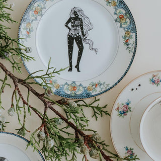 we are made of stardust girl decal fired onto small vintage floral dish for food or jewelry wings hawaii