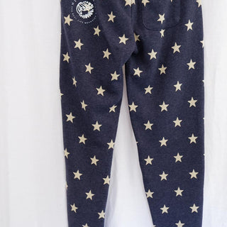 moonmaid mermaid and moon white graphic on stars printed blue sweat pants eco fleece jogger women's winter and lounge wear wings hawaii