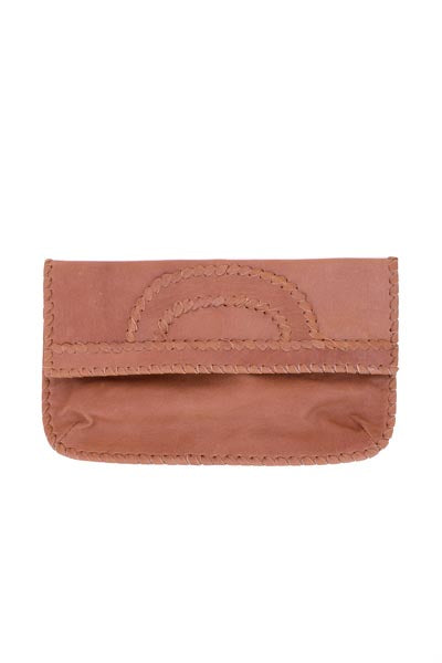 tan leather clutch with shoulder strap by shirley lane