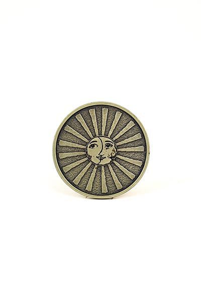 brass belt buckle sun and moon wings hawaii