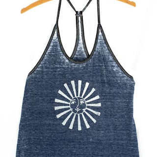 sun and moon graphic tank top super soft beach festival wear summer vibes screen printed haiku maui wings hawaii blue burnout style