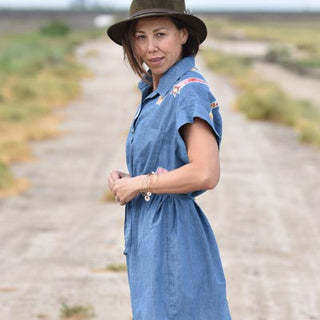 blue chambray linen womens button up pocket dress shirt hand sewn sunrise and flowers fabric patch graphics fabric belt summer festival dress shirt comfy cool casual chic haiku maui wings hawaii