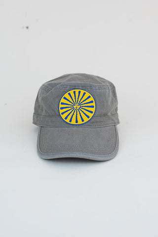 yellow and blue sun and moon graphic patch on a gray military style cap womens hat summer haiku maui wings hawaii accessories