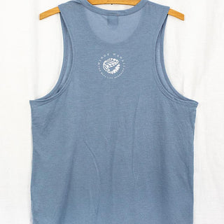 back view of blue tank top with wings hawaii logo in center
