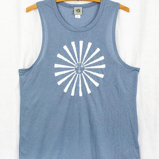 blue tank top with white graphic of sun and rays