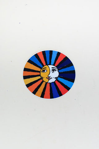 colorful round sun and moon sticker matte finish hand drawn by maui artist wings hawaii