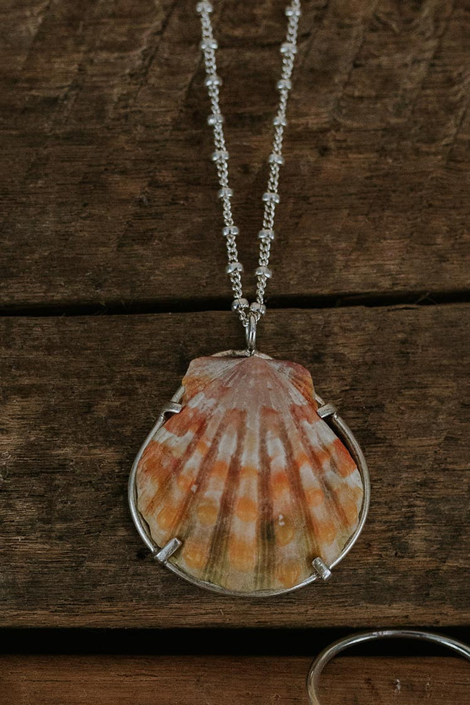 prong set sunrise shell necklace on sterling silver chain women's beach inspired mermaid jewelry hand made haiku maui wings hawaii