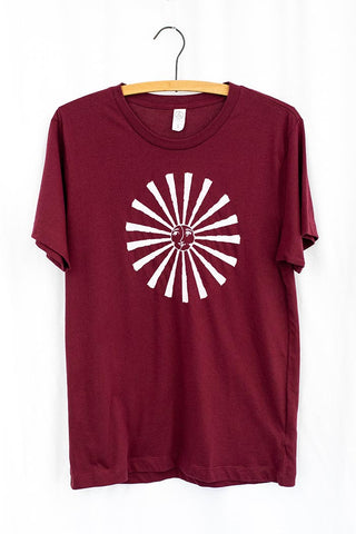 sun and moon white graphic screen printed on red men's tee shirt t-shirt top super soft cotton haiku maui wings hawaii