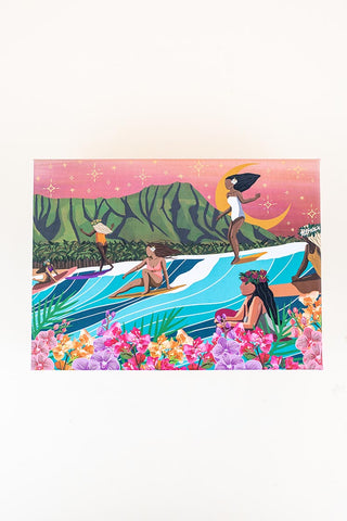 surf shack puzzle A super fun puzzle made of premium 100% recycled Eska board. Printed with non-toxic inks and a matte finish. Art by illustrator Michi Pichel from the Philippines.