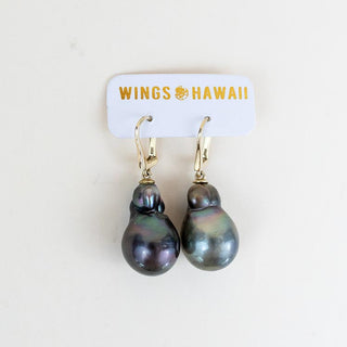 tahitian pearl earrings gold filled women's magical beachy mermaid style jewelry hand made haiku maui wings hawaii