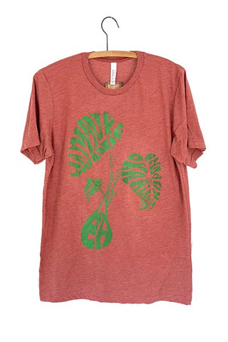 paradise now taro leaf mens graphic tee shirt screen printed maui wings hawaii super soft orange shirt with green graphic