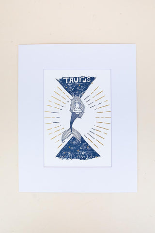 taurus mermaid zodiac print with mat blue and gold wings hawaii
