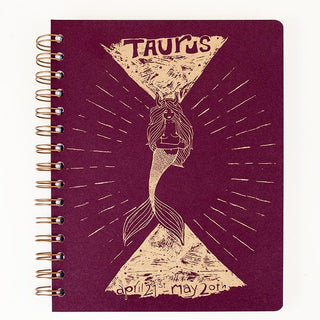 zodiac astrology notebook journal taurus birthday season mermaid artwork wings hawaii