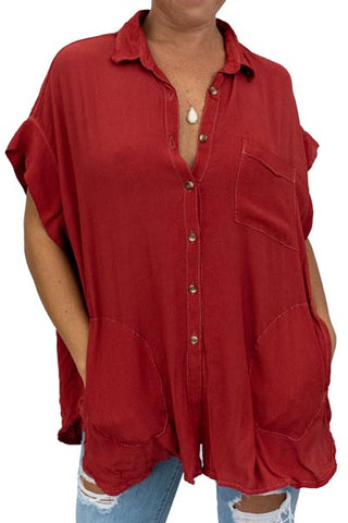 Short Sleeve Pocket Blouse - Terracotta Rayon