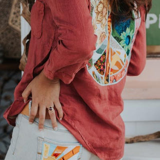 Peace Sign Pocket Blouse - Terracotta
