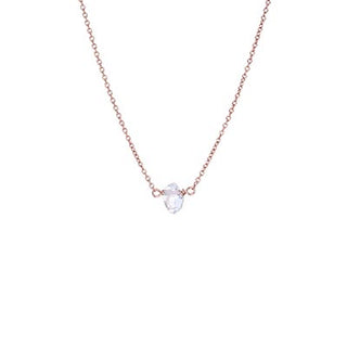 wings hawaii tiny herkimer diamond crystal necklace 14 karat rose gold fine dainty chain