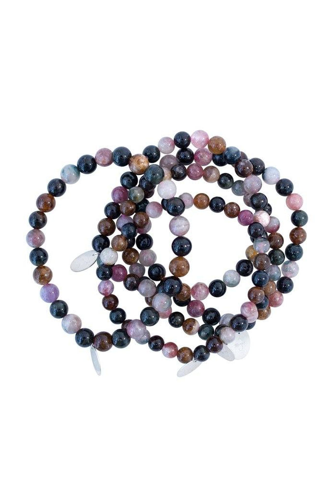 wings hawaii handmade beaded jewelry stretch band tourmaline gemstone gem stone green pink brown blue purple beads stretchy simple colorful rainbow color colour chakra sterling silver stack layer heal