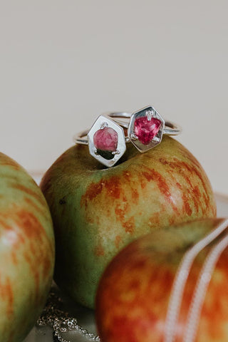 pink tourmaline stone prong set shield ring on sterling silver women's magical crystal gem stone jewelry hand made minimal style haiku maui wings hawaii