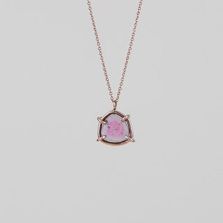 pink tourmaline slice prong set on solid 14k rose gold wire and chain delicate and dainty women's crystal necklace magical jewelry hand made haiku maui wings hawaii