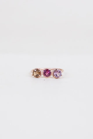 three small tourmaline stones prong set in solid 14k rose gold ring women's crystal jewelry fine dainty minimal boho style jewels wings hawaii