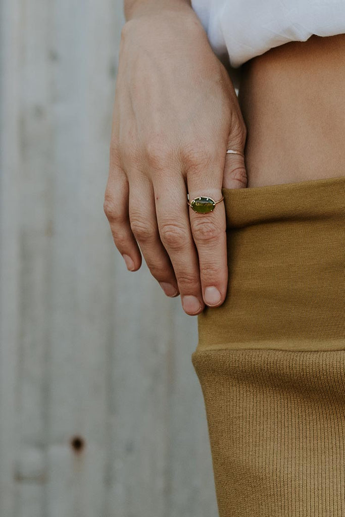 Crown Vesuvianite Garnet Ring - 14k