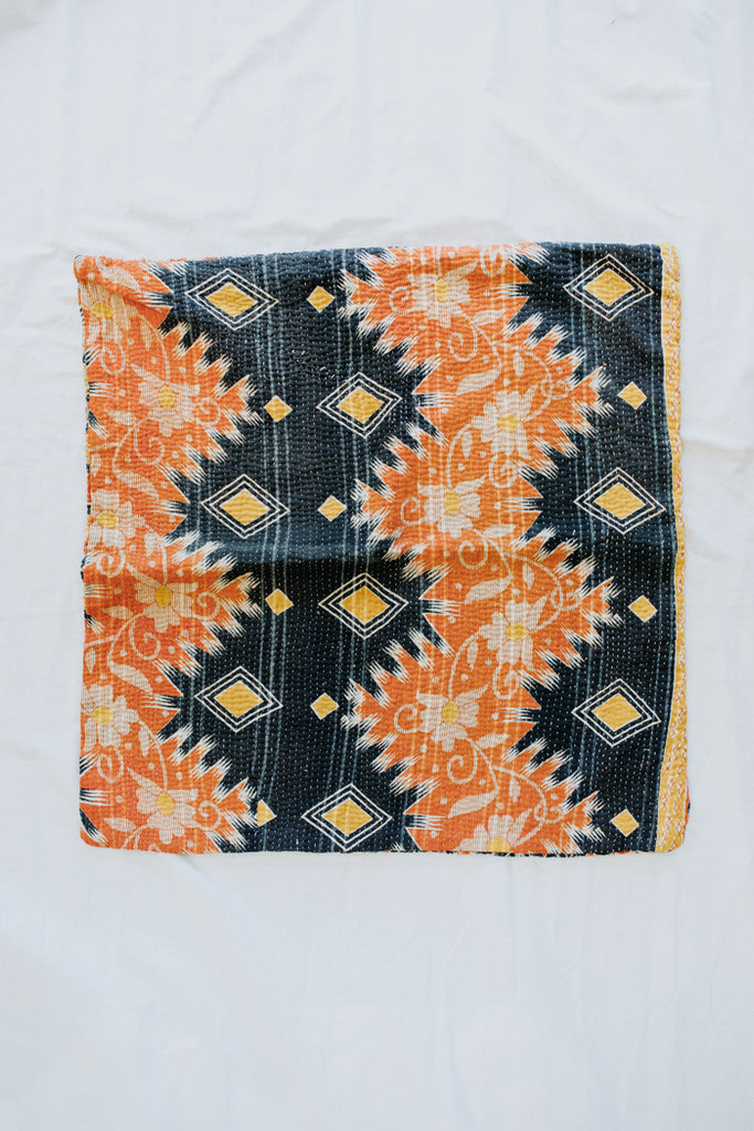 vintage kantha pillow case. double sided mutli color print