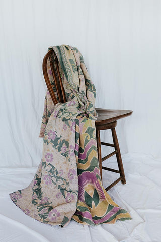 collectors vintage kantha blanket. reversible and multi colored/patterned