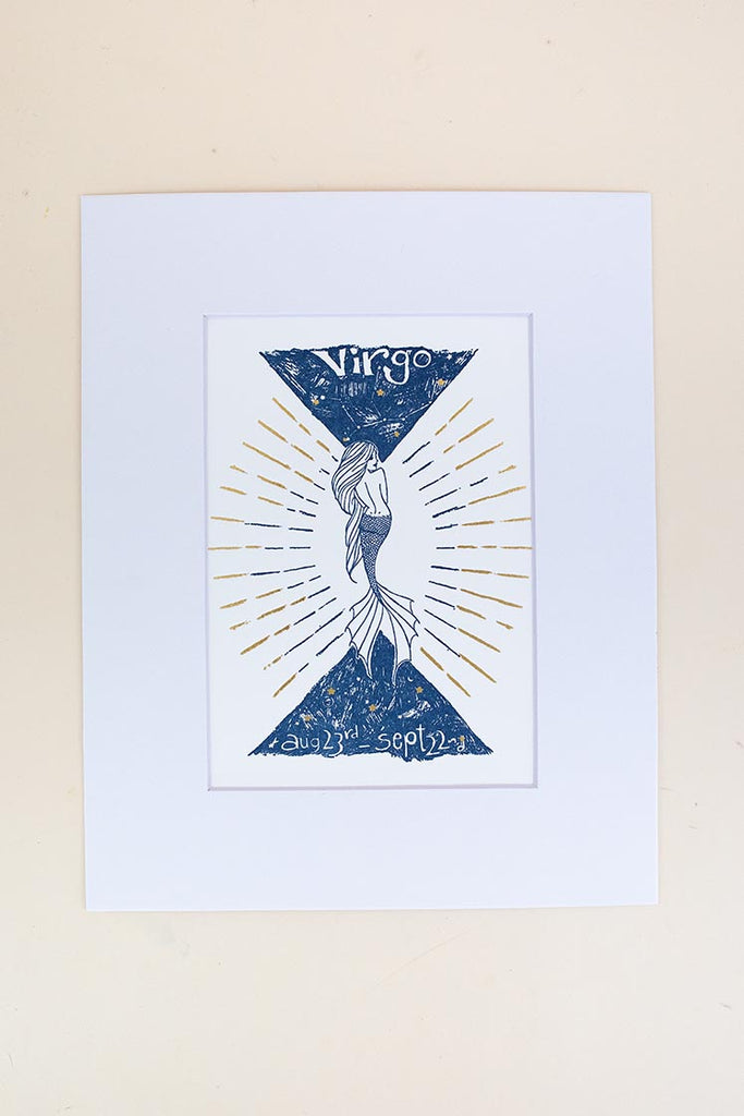 virgo mermaid zodiac print with mat blue and gold wings hawaii