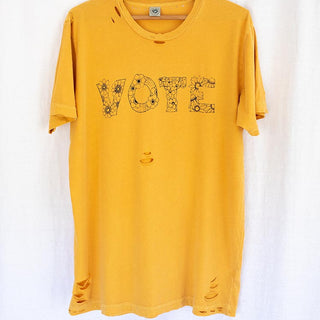 vote tee shirt original artwork with flowers on destroyed style unisex tee in marigold yellow 100% cotton super soft men and women designed in haiku maui wings hawaii