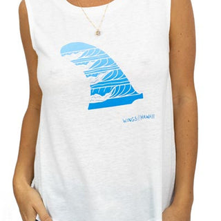wave skeg surf fin hand designed graphic tank top womens day wear cool casual comfy summer top beach babe mermaids for life haiku maui wings hawaii