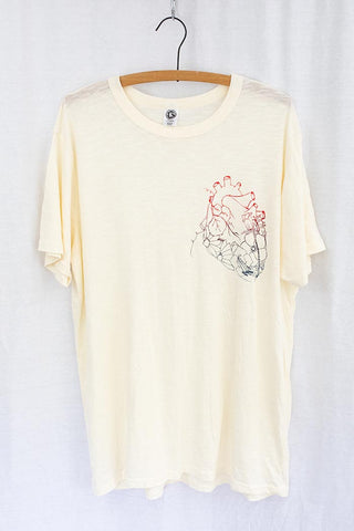 white cotton tee with garden heart graphic screen printed on the front super soft and casual tee shirt top women's men's wings hawaii