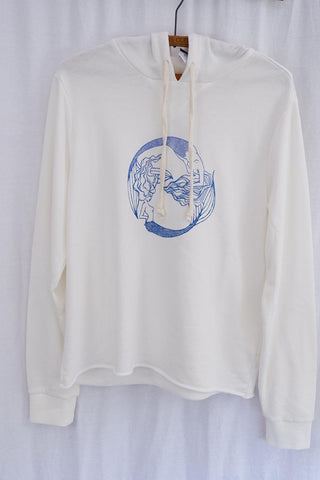 pisces double mermaid design in blue screen printed on white ivory fleece pullover hoodie super soft women's winter lounge wear clothes wings hawaii