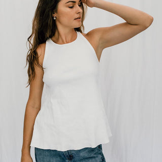 ribbed ryanne swing tank in white cotton spandex fabric women's tops casual chic wings hawaii