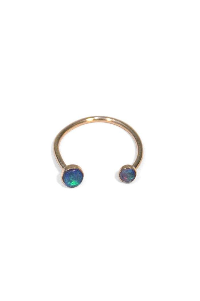wings hawaii opal ring gold 14k bezel set horseshoe open u shape blue handmade gemstone jewel gem stone