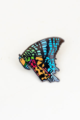 butterfly enameled pin. blue, orange, green, yellow colors