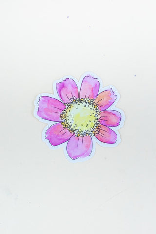 zinnia waterproof decal sticker pink and yellow hand drawn by maui hawaii artist