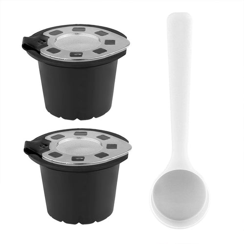 2pcs Silver Refillable Reusable Coffee Capsule Filter Compatible with Nespresso (with Coffee Spoon)