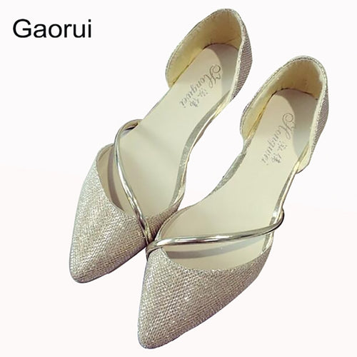 GAORUI New Women Sexy Flats Pointed Toe Silver Golden Lady Crystal Glitter Party Shoes Slip-on Fashion Summer Flats High Quality