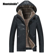 Load image into Gallery viewer, Mountainskin Winter Men's Leather Jacket Warm Thick PU Coat Male Thermal Fleece Jackets Faux Leather Men Brand Clothing SA506