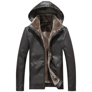 Mountainskin Winter Men's Leather Jacket Warm Thick PU Coat Male Thermal Fleece Jackets Faux Leather Men Brand Clothing SA506