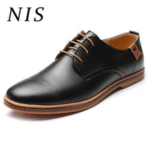 Load image into Gallery viewer, NIS Plus Size Men Dress Shoes Leather Oxford Shoes For Men Formal Wedding Work Business Flats Zapatos de hombre Size 40-48 New