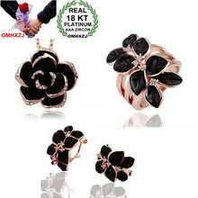 Load image into Gallery viewer, OMHXZJ AAA Zircon Crystal Silver Gold 18KT Platinum Dripping Woman Bride Camellia Necklace Earrings Ring Jewelry Sets ST44