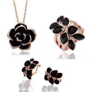 OMHXZJ AAA Zircon Crystal Silver Gold 18KT Platinum Dripping Woman Bride Camellia Necklace Earrings Ring Jewelry Sets ST44