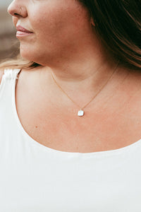 Gold Square Pearl Necklace