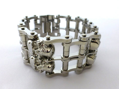 Double Row Silver Skull Chain Bracelet