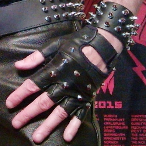 80's Metal - Leather Studded Fingerless Gloves