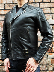 80's Metal Black Diamond 'Blade' Leather Jacket
