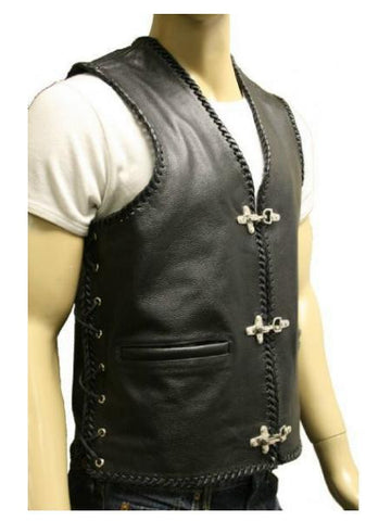 80's Metal 'Metal God' Black Leather Waistcoat