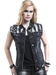 80's Metal Rock Chick 'Ready Rocked' Black Denim Cut Off